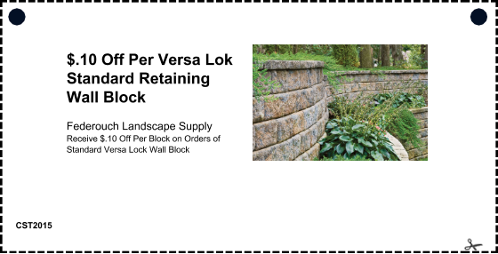 offer: $.10 Off Per Versa Lok Standard Retaining Wall Block sponsor: Federouch Landscape Supply details: Receive $.10 Off Per Block on Orders of Standard Versa Lock Wall Block expires: Thu 15 Jan 2015