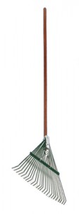 "54"" Wood Handled Leaf Rake, 24"" Wide Steel Head w/ Brace"
