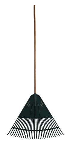 "30"" high impact poly leaf rake, 1"" x 54' wood handle"