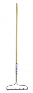 "16 tine bow rake, 60"" wood handle"