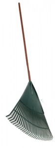 "18"" steel leaf rake, 1"" x 54"" wood handle"